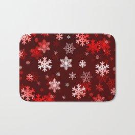 Dark Red Snowflakes Bath Mat