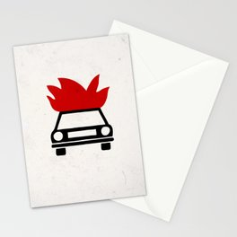 the car's on fire Stationery Cards
