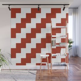 Red and White Zig Zags Wall Mural