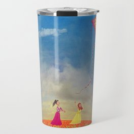 Two young girls with the kite on the field of poppies  Travel Mug