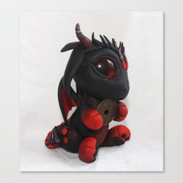 Red and black Coin Dragon Canvas Print