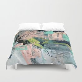 Connect [4] : a vibrant acrylic abstract in neon green, blues, pinks, & hints of orange Duvet Cover