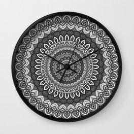 MANDALA IN BLACK AND WHITE Wall Clock