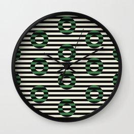 stripes & circles-leaf green Wall Clock