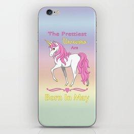 Pretty Pink Unicorn May Birthday Girl iPhone Skin
