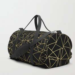 Abstraction Outline Gold on Black Duffle Bag
