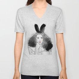 Fashionable easter bunny girl Unisex V-Neck