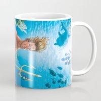 aquaman Mugs featuring Aquaman Black Lagoon (Sun Kissed Water Version) by Brian Hollins art