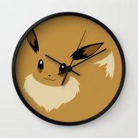 eevee Wall Clocks featuring Eevee PKMN by Rebekhaart