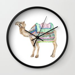Boho Camel Tassel India Morocco Camel Watercolor Wall Clock