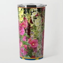 PINK HOLLYHOCKS & YELLOW  BUTTERFLIES TEAL Travel Mug