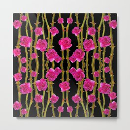 "FUCHSIA PINK ""ROSES & THORNS""  BLACK ART PATTERNS Metal Print"