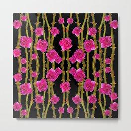 "FUCHSIA PINK ""ROSES & THORNS""  BLACK ART PATTERNS Metal Print"