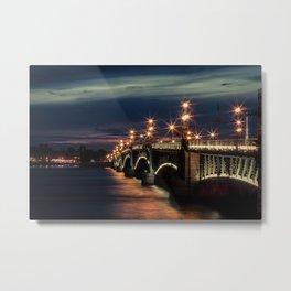 Bridge over the Neva river at night (St. Petersburg, Russia) (2012-7SPB) Metal Print
