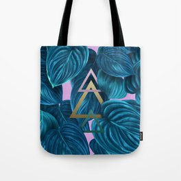 tropical turquoise leaves pattern Tote Bag