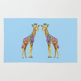 Geraldine the Geniunely Nice Giraffe Blue Rug