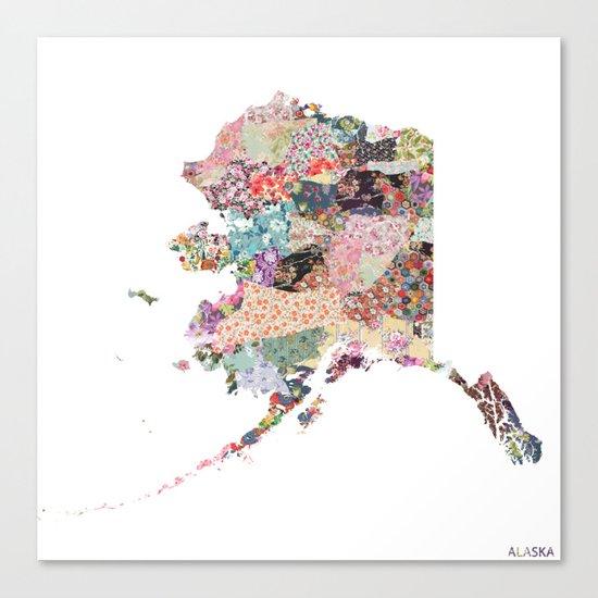 Alaska map Canvas Print