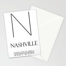 NASHVILLE City GPS Coordinates Stationery Cards