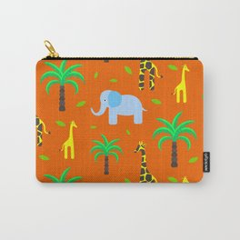 Jiraffe and elephant african pattern Carry-All Pouch