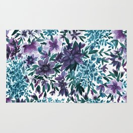 Watercolor Floral - Moonlight Garden Purple Blue Green Flowers Rug