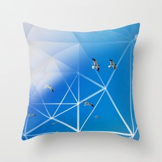 Gulls in Hexagram Flight Throw Pillow