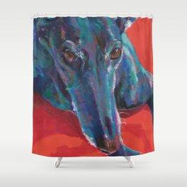 Greyhound on Red Shower Curtain