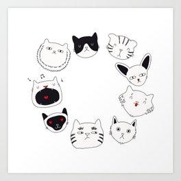 cute cat doodles circle #3 Art Print