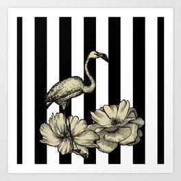 Stripe Flamingo Art Print