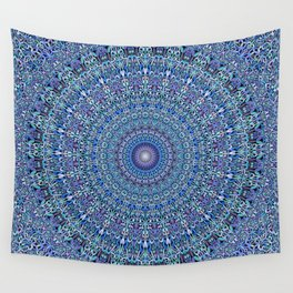 Blue Circle Garden Mandala Wall Tapestry