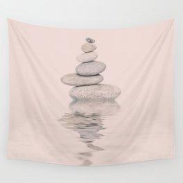 Balanced Harmony Zen Pebble soft pink Wall Tapestry