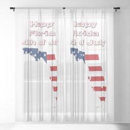 Happy Florida 4th of July Sheer Curtain