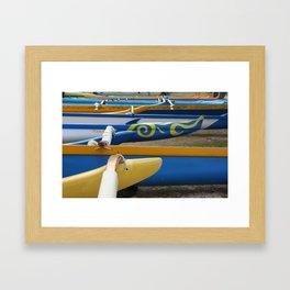 Canoes on Kailua Beach Framed Art Print