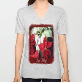 Mixed Color Poinsettias 2 Happy Holidays P5F1 Unisex V-Neck