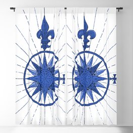Nautical French Blue Compass Rose Blackout Curtain