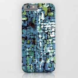 Blue Green Abstract Geometric Low Poly Modern Art iPhone Case