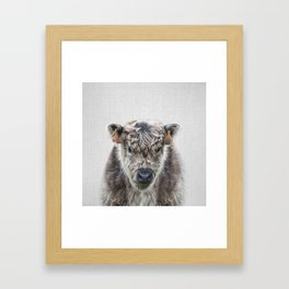 Fluffy Cow - Colorful Framed Art Print