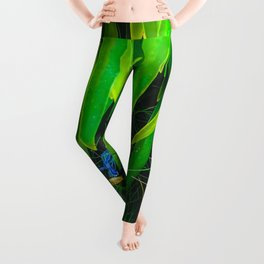 closeup green leaves plant with green grass Leggings