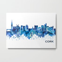 Cork Ireland  Skyline Blue Metal Print