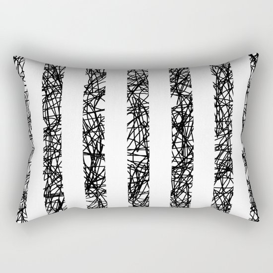 Scribble Bars - Abstract, stripy, stripey, black ink scribbles pattern, black and white Rectangular Pillow