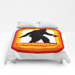 Retro Sasquatch Washington Comforters
