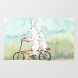 Bunnies on a Bicycle Rug