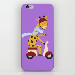 Giraffe on Motor Scooter iPhone Skin