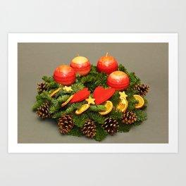 Desktop Wallpapers Christmas Heart Candles Branche Art Print
