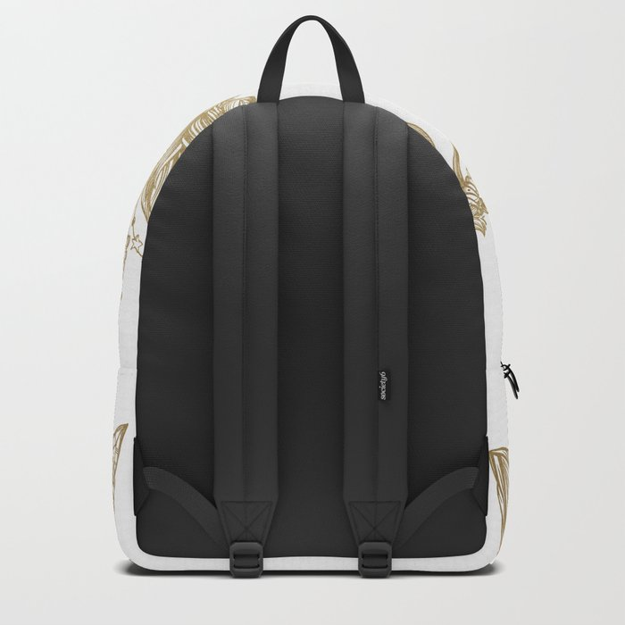Tribal Arrows Gold on White Backpack