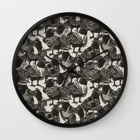 dramatical murder Wall Clocks featuring Murder Weapons by Alex Solis