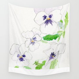Snow Pansies Wall Tapestry