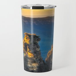 First sunrays in the morning at Three Sisters in Blue, Mountains, Australia Travel Mug