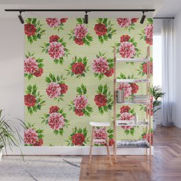 Geometric elegant green pink watercolor floral zigzag pattern Wall Mural