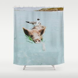lets swim Shower Curtain