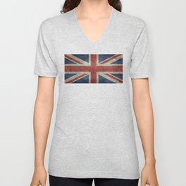 England's Union Jack flag of the United Kingdom - Vintage 1:2 scale version Unisex V-Neck
